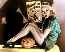 """LOT OF TWELVE (12) 8x10"""" VINTAGE HALLOWEEN HAND COLOR TINTED PHOTOGRAPHS"""