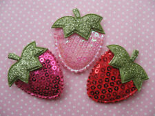 30 Big Padded Sequin Strawberry Appliques/trim-3 Colors FT003