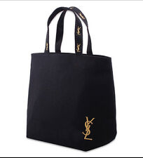 Japanese Magazine Style Fashion Large Embroidery YSL Black Canvas Tote Hand Bag