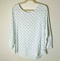 Old Navy Women's Top Size XL 3/4 Sleeves Polka Dots Twist Open Back Cotton White