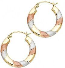 Tri-color 14K Solid Yellow Gold Diamond Cut Womens Hoop Earrings