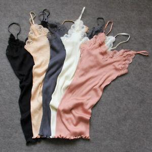 70% Silk 30% Cotton Knit Lace Camisole Top Vest Sleepwear Spaghetti Strap SG309
