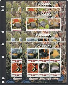 Tropical fish Fauna of the sea 2000 Congo MNH set 2 M/s perf  X 5 Wholesale lot