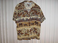 Hawaiian style Shirt, Ladies L SS 100% Rayon by Cricket Lane, African Floral