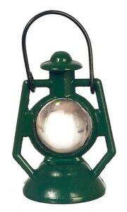 "MINIATURE 2"" GREEN KEROSENE LAMP LANTERN for FAIRY GARDEN OR DOLLHOUSE"
