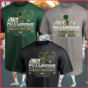 NEW!! Milwaukee Bucks 2021 NBA Champions Fear The Deer 1971-2021 T-Shirt