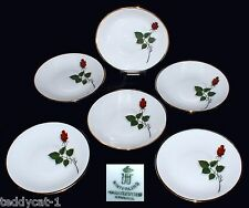 Winterling ~ 6 Konfektteller / Untersetzer 11 cm mit Rosendekor ~ kleine Teller