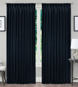 Window Curtain Blackout Pinch Pleat Curtain Blockout Drapes Black 1Panel