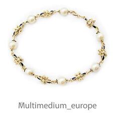 750 er Gold Emaille Perlen Armband Arm kette 18k 18ct pearl gold bracelet enamel