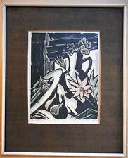 Still Life. Modernist Woodcut by Hans A Mueller listed American artist c1950