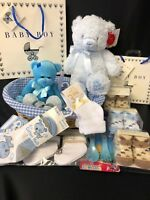 BABY BOYS MY 1ST CHRISTMAS HAMPER BASKET WITH KEEL TEDDY & SOCKS XMAS GIFT SET