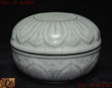 Old China dynasty Official kiln Ru porcelain glaze lotus pattern rouge box boxes