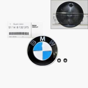 Genuine BMW Logo Hood Emblem with Grommet Badge Bonnet 82mm 1 3 5 6 7 X Z Series