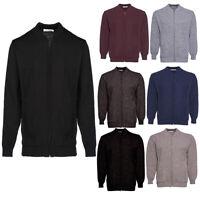Mens Classic Zip Up Vintage Plain Knitted Grandad Cardigan Jumper UK  M - 4XL