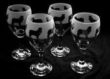 More details for cavalier king charles spaniel dog wine glasses. set of 4.. boxed