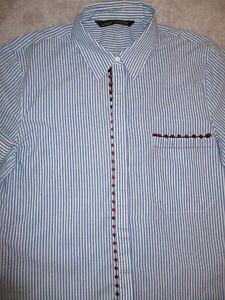 ZARA Blue Stripe Cotton Mix Long/S Collared Long Shirt M