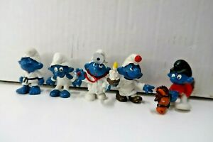 Lot of 5 Smurfs Schleich PEYO 1970s-1980s Doctor Karate MMA and more