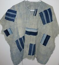 One-of-a-Kind Poncho, Made of Vintage Mossi Indigo, Burkina Faso