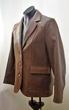 The Territory Ahead Brown Distressed Leather Fully Lined Blazer Women's Size 10