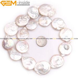 "P4509 50/"" 15 mm blanc Coin Biwa Round Freshwater Pearl Square Fluorite Collier"