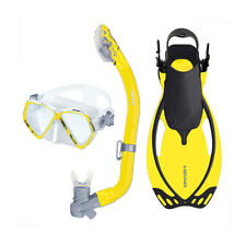 Head Pirate Dry Youth Yellow Snorkeling Scuba Mask Flippers Set with Bag, S/M