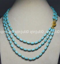 "3 Rows Natural 6x9mm Blue Turquoise Barrel Gems Beads Necklaces 18-20"" JN729"
