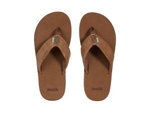Men's Shoes Sanuk BEER COZY STACKER SUEDE Flip Flop Casual Sandals 1119338 BROWN