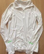 LULULEMON  1/2 Zip Pullover Top Jacket size 4 White w Green Reflective Run Gym