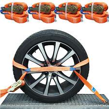 4x Spanngurte Autotransport Gurt Reifengurt Radsicherung Zurrgurte Anhänger PKW