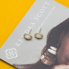 Kendra Scott Cade Gold Stud Earrings In White Pearl NEW