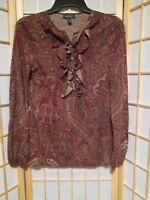 Ralph Lauren Jeans Petite Paisley Ruffle Partial Button Front Blouse Top Sz L