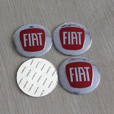 4x (Sticker) 56mm Fiat Silver/Red Wheel Centre Cap Sticker Logo UK Stock