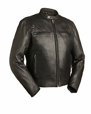 FMC Motorcycle Black Leather Jacket  Mens Size S Carbon FIM241CCBZ Bike Biker Ne