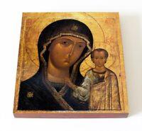 "ORTHODOX ICON WOOD ""THEOTOKOS MOTHER OF GOD OUR LADY OF KAZAN"" 1649y 14.5x16.5cm"
