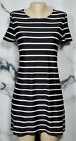 DKNY Stretchy Black Taupe Stripe Short Sleeve Short Dress Small Unlined