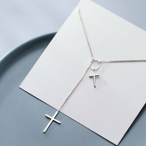 Fashion 925 Silver Charm Cross Clavicle Chain Pendant Necklace Women Jewellery