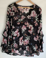 SUSSAN beautiful Floral Printed Viscose Long Sleeve Top Blouse Size 8 10