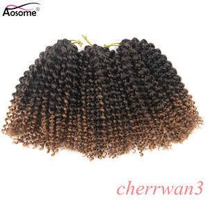 "8"" MALI BOB Ombre Afro Curly Weft Twist Braids Crochet Braiding Hair Extensions"