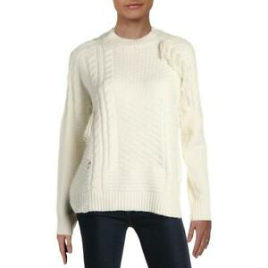 Aqua Womens Ivory Cable Knit Fringe Pullover Sweater Top L BHFO 6750