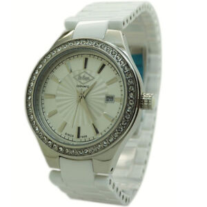 Lee Cooper Watch Womens Ladies LC-1403L White Ceramic Strap Silver Case Crystals