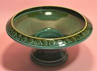 VINTAGE SURREY CERAMIC POSY BOWL DEEP GREEN PLINTH DESIGN PATTERN NB 068 1960'S