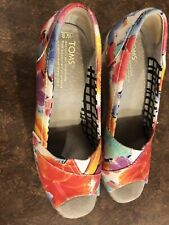 Toms Canvas Espadrille Wedges Open Toe Women's Size 9