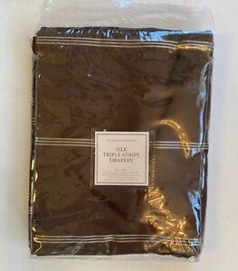 "Restoration Hardware Silk Triple Stripe Drapery 50"" x 84"" Coffee NEW Rod Pocket"
