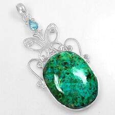9.01 Gm 925 Sterling Silver Natural Chrysocolla Blue Topaz Pendant Pure Jewelry