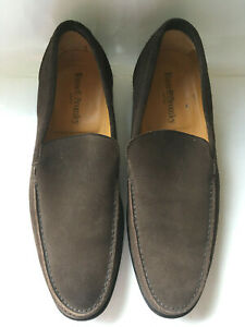 Russell & Bromley handmade mens brown suede leather loafers vintage hardly worn