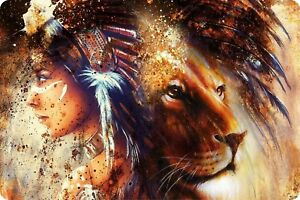 Native American Women Lion Outdoor Bow Hunting Wilderness Guns Wall Art Plaque