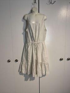 Pure DKNY White Linen Dress w/ Pockets!