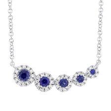 Mujer Zafiro Azul Natural y Diamante 14K Oro Blanco 5 Piedras Colgante Collar