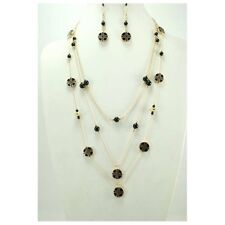 "24"" Adjustable Gold Tone Multi Layer Black Beaded & Cross Design Necklace w Earr"