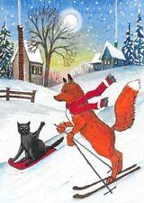 ACEO PRINT OF PAINTING RYTA CHRISTMAS FOX BLACK CAT LANDSCAPE WINTER FOLK ART
